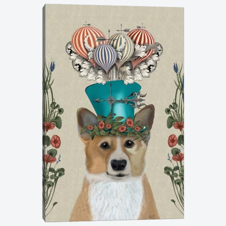 Corgi II Canvas Print #FNK104} by Fab Funky Canvas Wall Art
