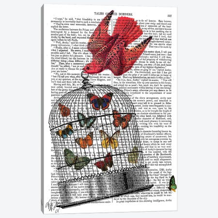 Flying Birdcage Canvas Print #FNK1051} by Fab Funky Canvas Wall Art