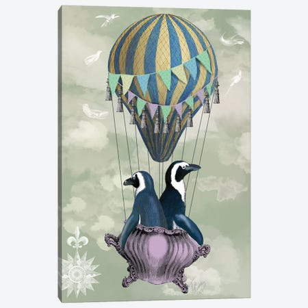 Flying Penguins Canvas Print #FNK1052} by Fab Funky Canvas Artwork