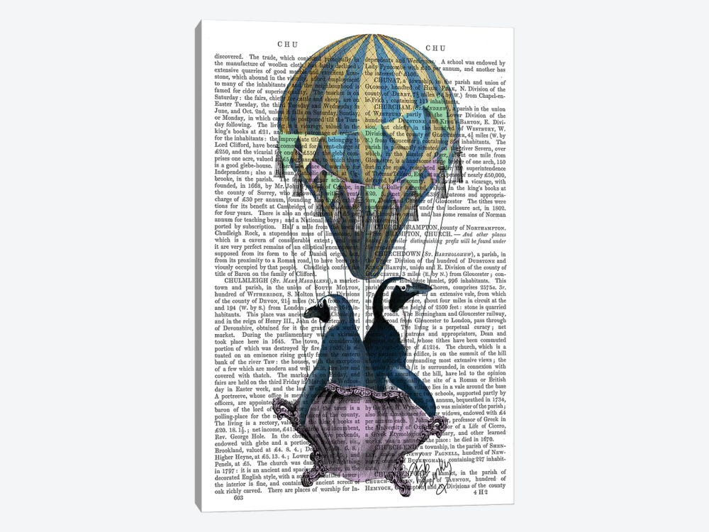 Flying Penguins, Print BG by Fab Funky 1-piece Canvas Print