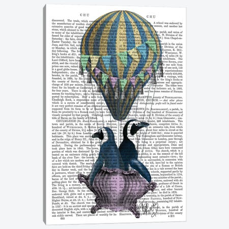 Flying Penguins, Print BG Canvas Print #FNK1053} by Fab Funky Canvas Artwork