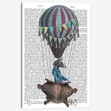 Flying Zebra, Print BG Canvas Print #FNK1055} by Fab Funky Art Print