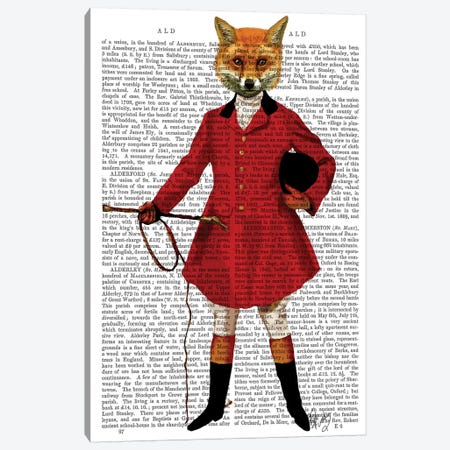 Fox Hunter II Canvas Print #FNK1057} by Fab Funky Canvas Print