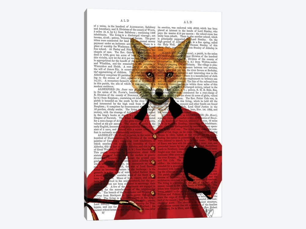 Fox Hunter Portrait, Print BG by Fab Funky 1-piece Canvas Print