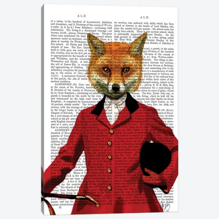 Fox Hunter Portrait, Print BG Canvas Print #FNK1059} by Fab Funky Canvas Art