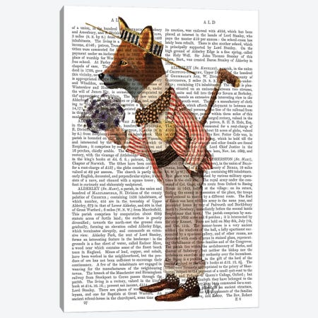 Fox In Boater Canvas Print #FNK1060} by Fab Funky Canvas Art Print