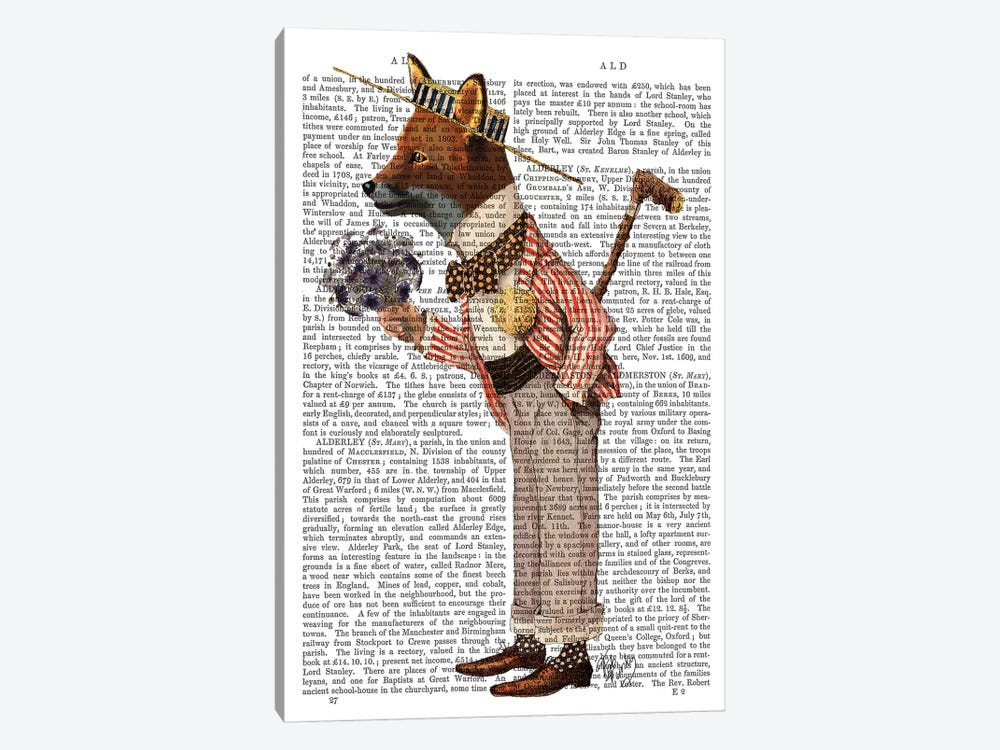 Fox In Boater by Fab Funky 1-piece Canvas Print