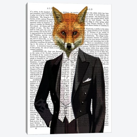 Fox In Evening Suit Portrait, Print BG Canvas Print #FNK1062} by Fab Funky Art Print