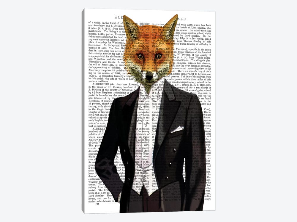 Fox In Evening Suit Portrait, Print BG by Fab Funky 1-piece Art Print