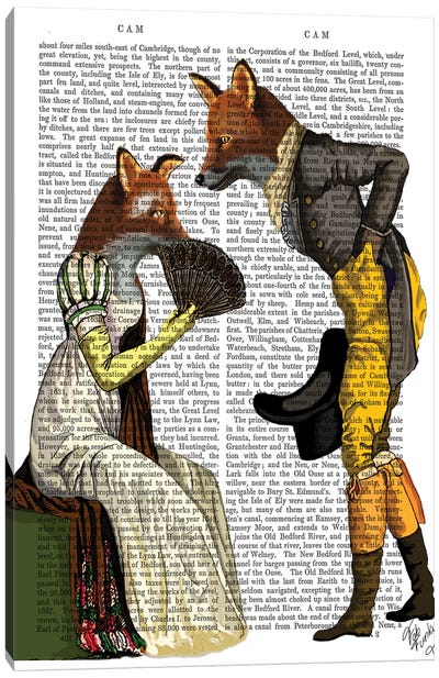 Foxes Courting Canvas Art Print