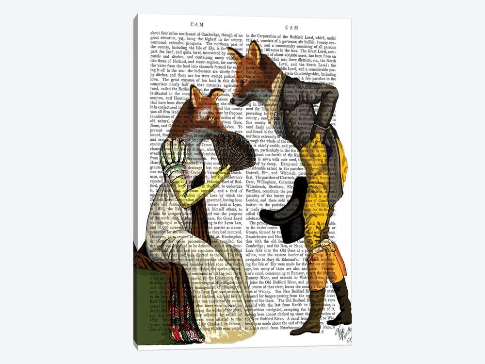 Foxes Courting by Fab Funky 1-piece Canvas Art Print