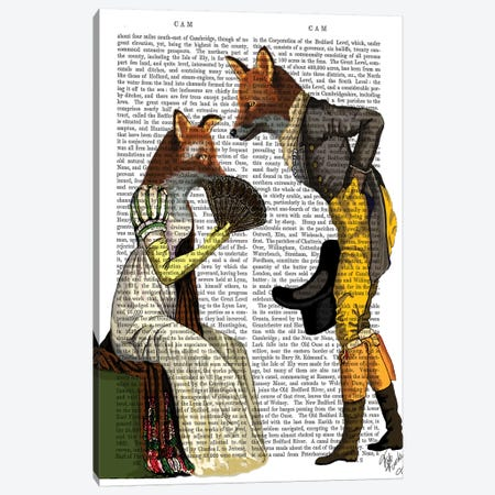Foxes Courting 3-Piece Canvas #FNK1064} by Fab Funky Canvas Artwork