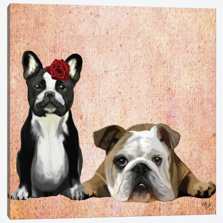 French Bulldog & English Bulldog Canvas Print #FNK1066} by Fab Funky Canvas Wall Art