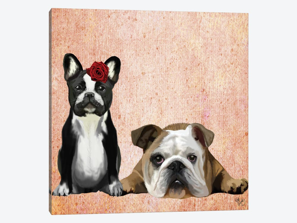 French Bulldog & English Bulldog 1-piece Canvas Art Print