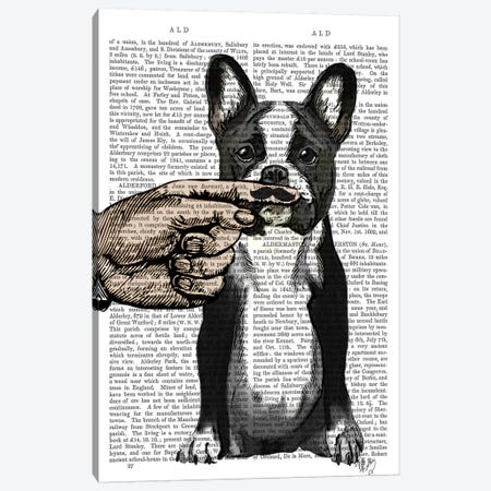 French Bulldog & Finger Moustache Canvas Print #FNK1068} by Fab Funky Canvas Print