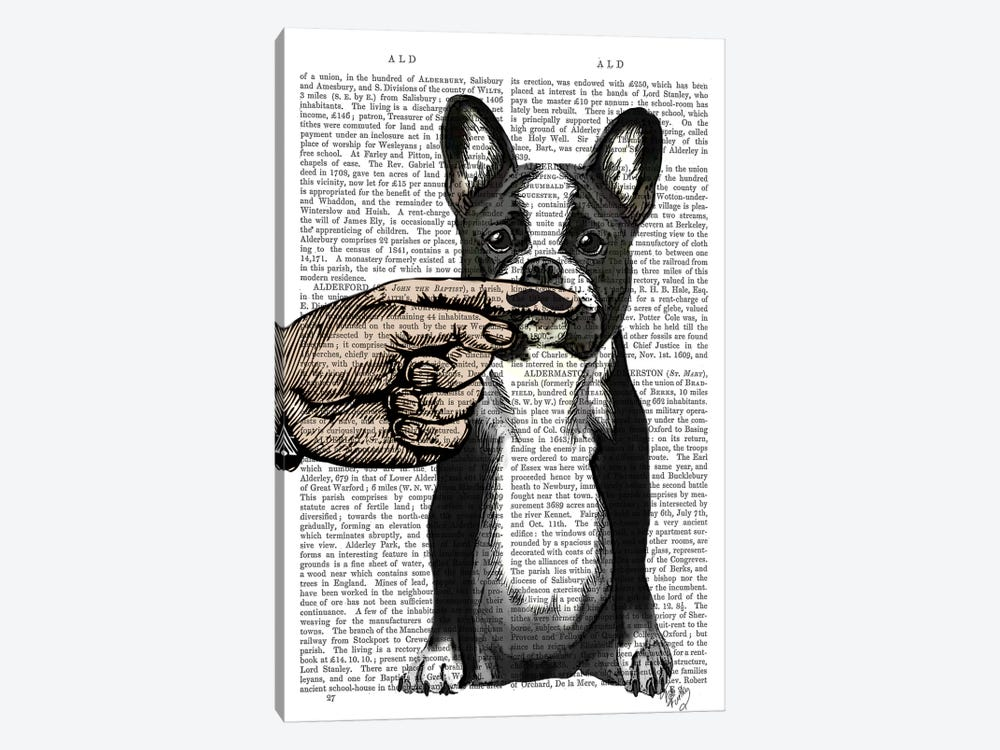 French Bulldog & Finger Moustache by Fab Funky 1-piece Art Print