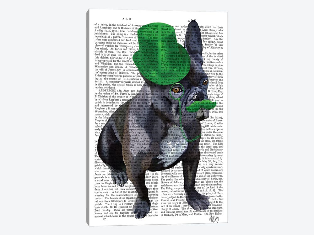 French Bulldog With Green Top Hat & Moustache by Fab Funky 1-piece Canvas Artwork