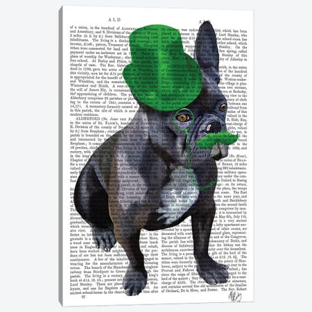 French Bulldog With Green Top Hat & Moustache Canvas Print #FNK1069} by Fab Funky Canvas Art Print