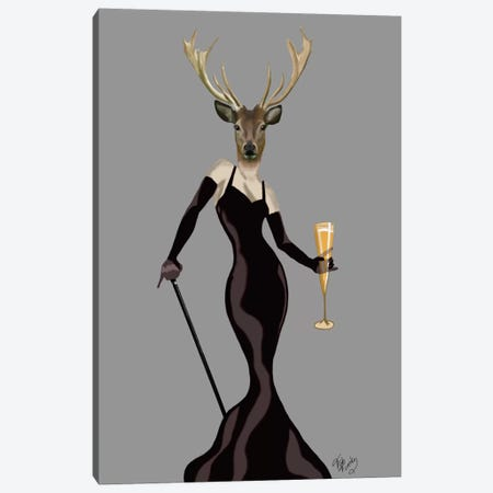 Glamour Deer In Black Canvas Print #FNK1073} by Fab Funky Canvas Artwork