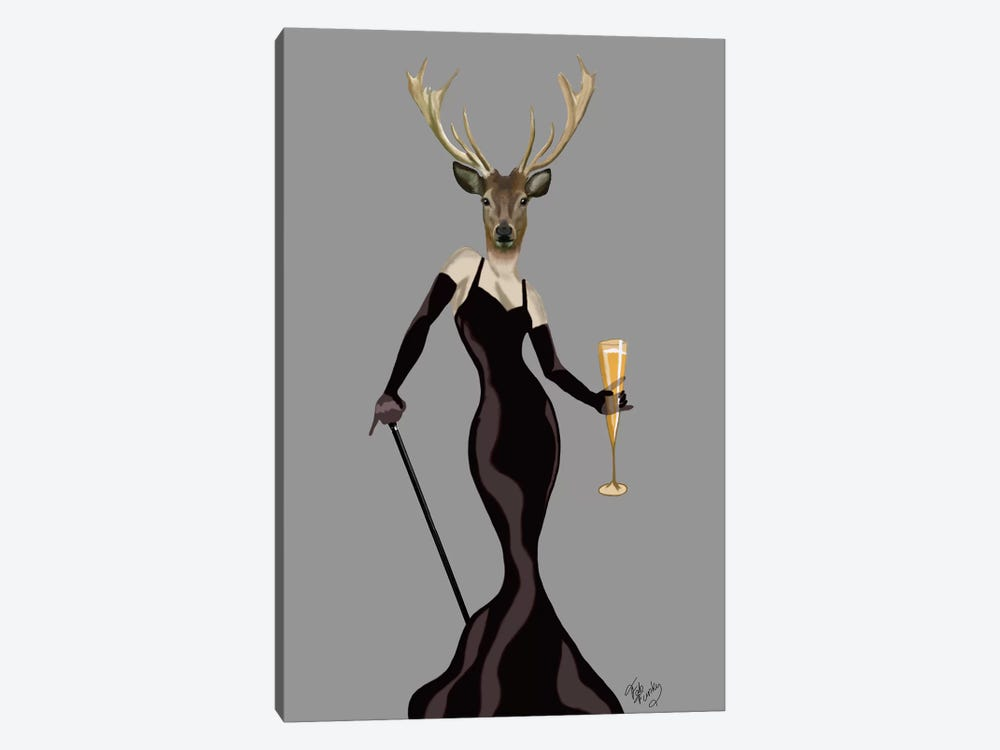 Glamour Deer In Black by Fab Funky 1-piece Art Print