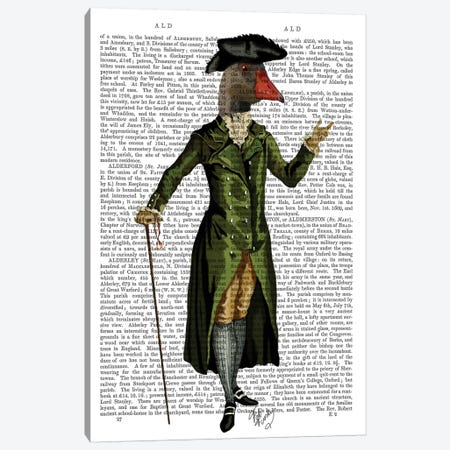 Goose In Green Regency Coat, Print BG Canvas Print #FNK1081} by Fab Funky Canvas Print