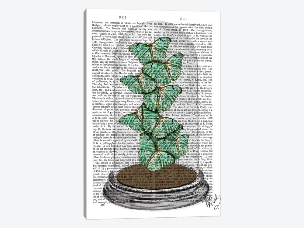 Green Butterflies In Bell Jar by Fab Funky 1-piece Canvas Print