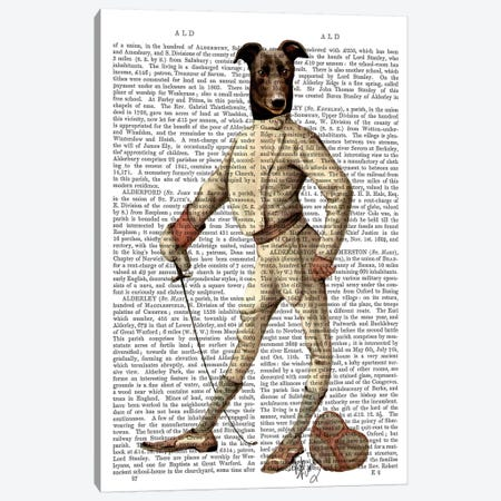 Greyhound Fencer In Cream, Print BG Canvas Print #FNK1088} by Fab Funky Art Print