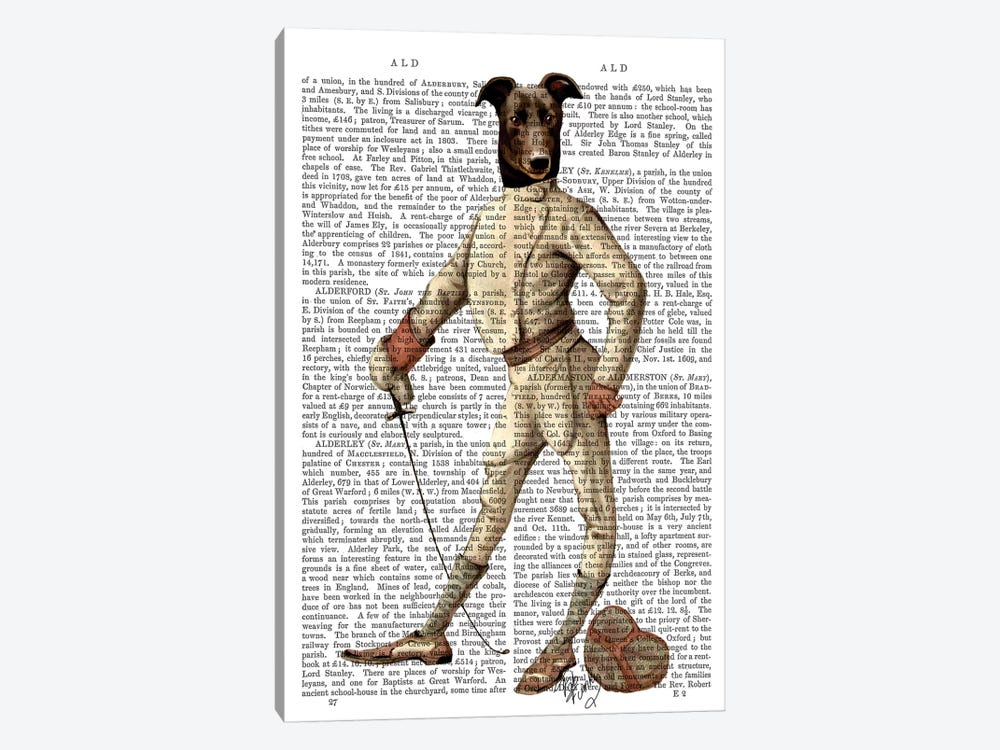 Greyhound Fencer In Cream, Print BG by Fab Funky 1-piece Canvas Print