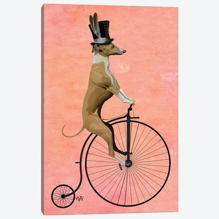Greyhound On Black Penny Farthing Bike Canvas Print #FNK1089} by Fab Funky Canvas Art Print
