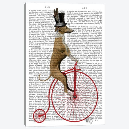 Greyhound On Red Penny Farthing Bike Canvas Print #FNK1090} by Fab Funky Canvas Wall Art