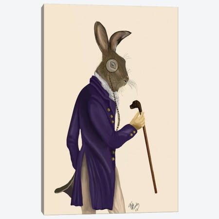 Hare In Purple Coat Canvas Print #FNK1093} by Fab Funky Canvas Wall Art