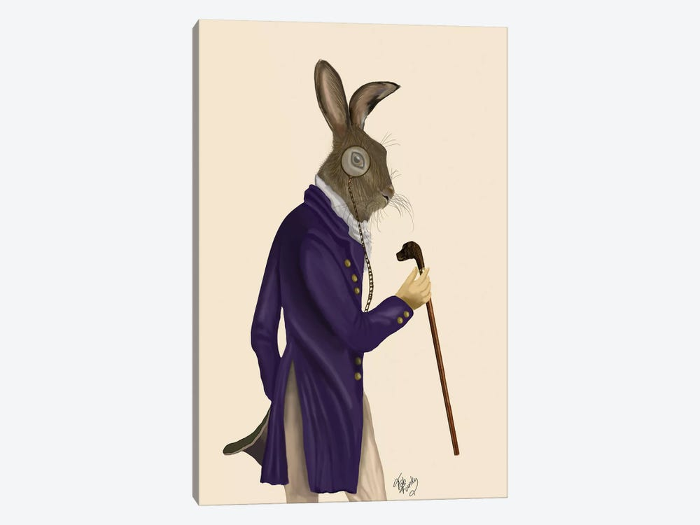Hare In Purple Coat by Fab Funky 1-piece Art Print