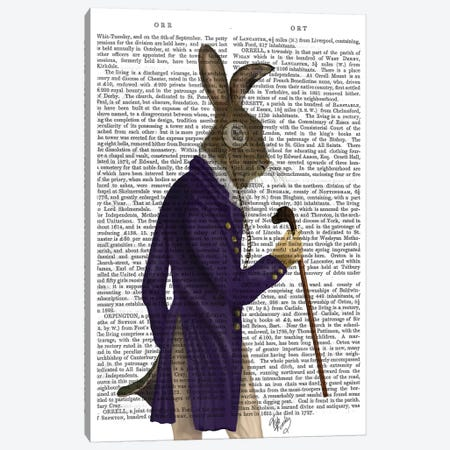Hare In Purple Coat, Print BG Canvas Print #FNK1094} by Fab Funky Canvas Print