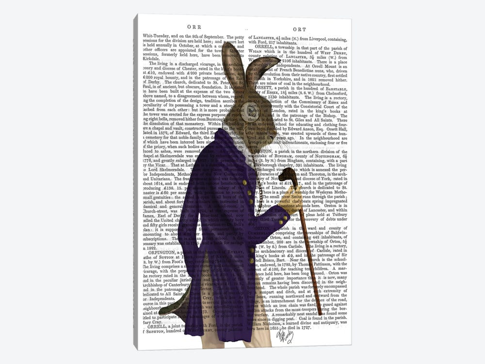 Hare In Purple Coat, Print BG by Fab Funky 1-piece Canvas Artwork