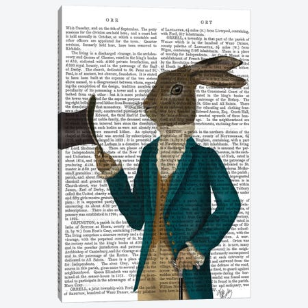 Hare In Turquoise Coat, Print BG Canvas Print #FNK1096} by Fab Funky Art Print
