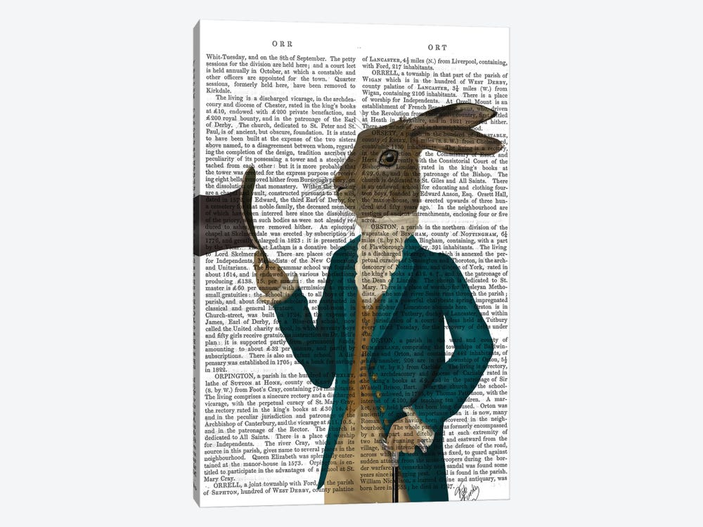 Hare In Turquoise Coat, Print BG by Fab Funky 1-piece Canvas Art