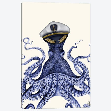 Captain Octopus Canvas Print #FNK10} by Fab Funky Canvas Wall Art