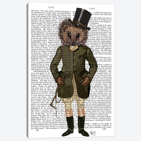 Hedgehog Rider, Print BG Canvas Print #FNK1100} by Fab Funky Canvas Wall Art