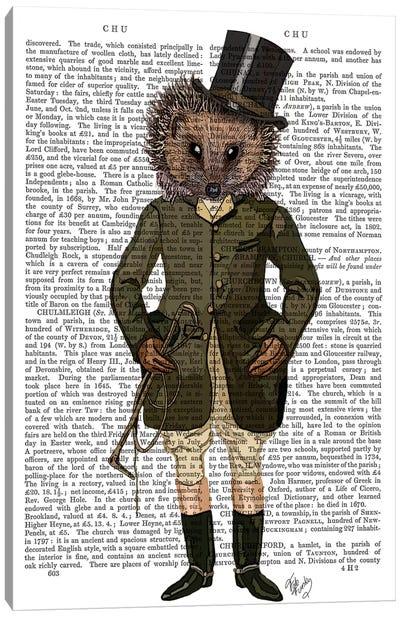 Hedgehog Rider, Print BG Canvas Art Print
