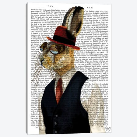 Horatio Hare In Waistcoat Canvas Print #FNK1103} by Fab Funky Canvas Wall Art