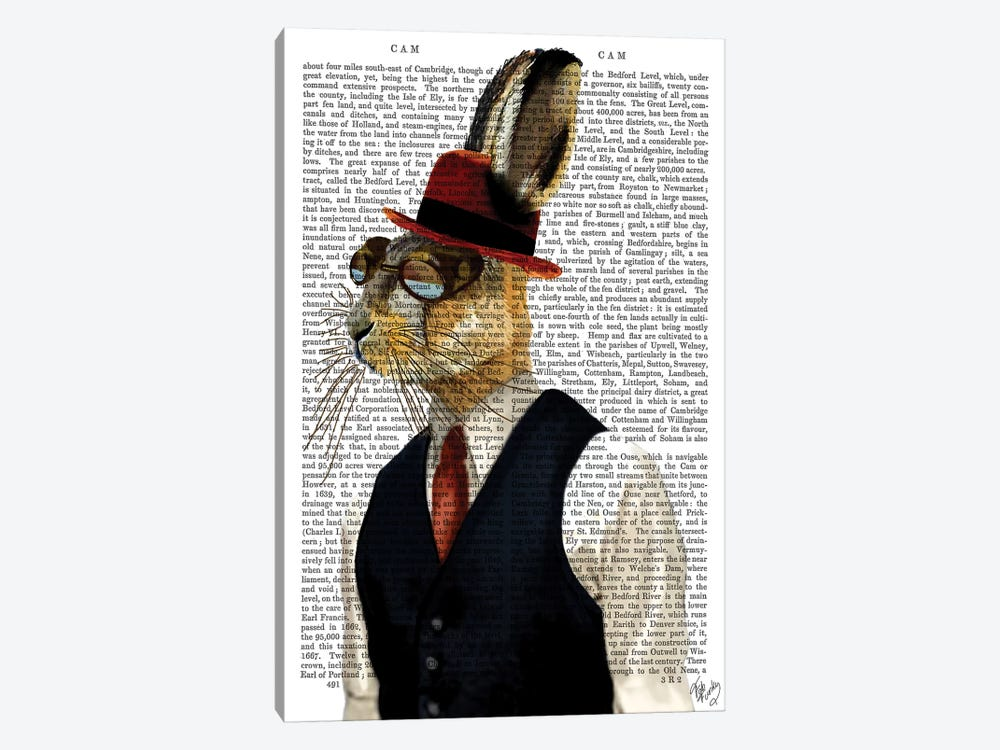 Horatio Hare In Waistcoat by Fab Funky 1-piece Canvas Art Print