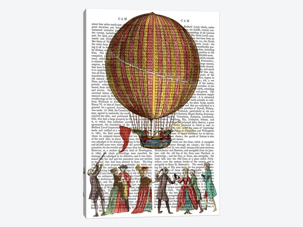 Hot Air Balloon & People by Fab Funky 1-piece Canvas Wall Art