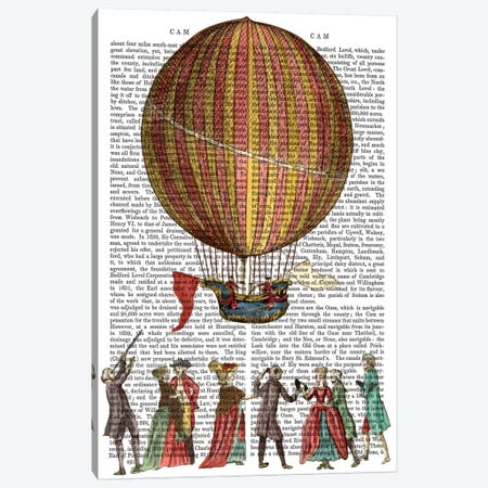 Hot Air Balloon & People Canvas Print #FNK1106} by Fab Funky Canvas Art Print
