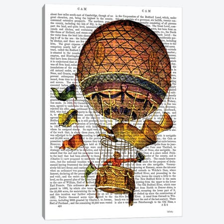 Hot Air Balloon With Flags Canvas Print #FNK1107} by Fab Funky Art Print
