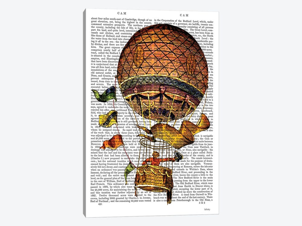 Hot Air Balloon With Flags by Fab Funky 1-piece Canvas Art Print