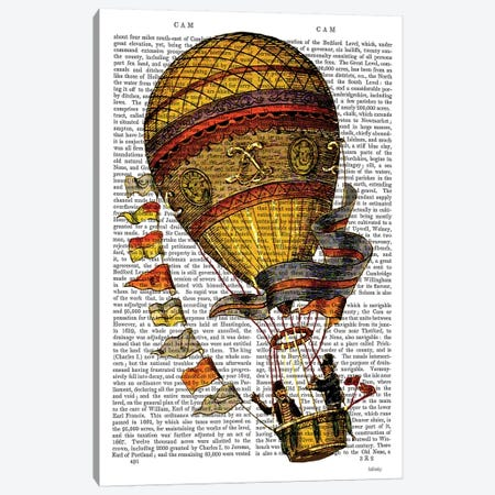 Hot Air Balloon, Gold With Flags 3-Piece Canvas #FNK1111} by Fab Funky Canvas Art Print