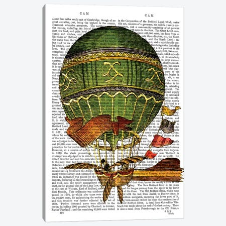Hot Air Balloon, Green Canvas Print #FNK1112} by Fab Funky Art Print