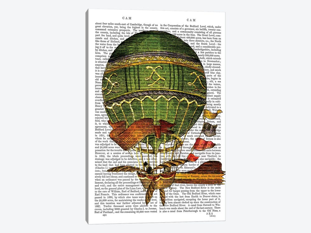 Hot Air Balloon, Green by Fab Funky 1-piece Canvas Print