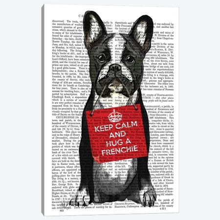 Hug A Frenchie Canvas Print #FNK1113} by Fab Funky Canvas Art Print