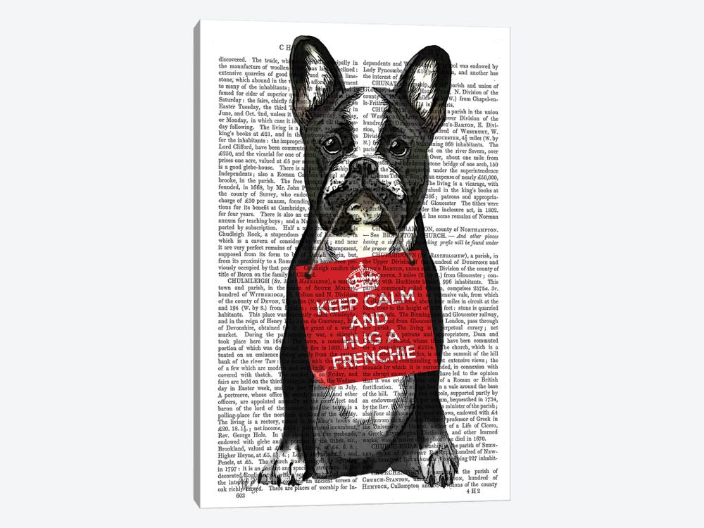 Hug A Frenchie by Fab Funky 1-piece Canvas Artwork